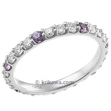 Bead Set Diamond Eternity Wedding Band with Purple Sapphires