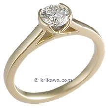 Modern Cathedral Bezel Engagement Ring in Yellow Gold