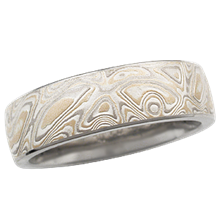 6mm Champagne Mokume Wedding Band, Light Etch