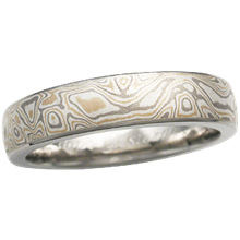 Champagne Mokume Wedding Band, 5mm