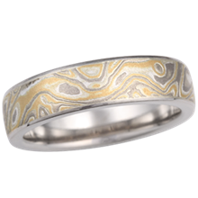 Summer Mokume Wedding Band with Palladium Liner