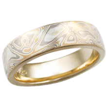 22k Summer Mokume Wedding Band, High Polish