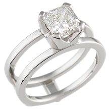 Modern Scaffolding Engagement Ring with Radiant-Cut Diamond