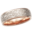 White Mokume Wedding Band with Rose Gold Liner, 6mm