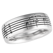 Musical Symbol Wedding Band with Black Diamonds