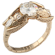 Dragonfly Engagement Ring in Yellow Gold