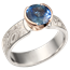 Mokume Solitaire Straight, Tapered Head Engagement Ring with Fair Trade Sapphire