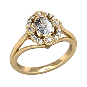 Vintage Scalloped Halo Engagement Ring in Yellow Gold