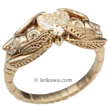 Dragonfly Engagement Ring in Yellow Gold with Heart Diamond