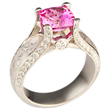 White Juicy Light Engagement Ring with Pink Sapphire