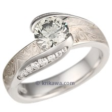 Platinum Mokume Carved Wave Engagement Ring with Gray Diamond