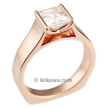 Modern Cathedral Engagement Ring in Rose Gold