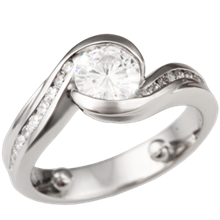 Carved Wave Engagement Ring with Moissanite