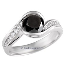 Carved Wave Engagement Ring with Black Diamond