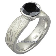 Mokume Solitaire Tapered Engagement Ring with Black Diamond