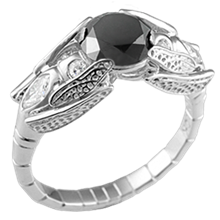 Dragonfly Engagement Ring with Black Diamond