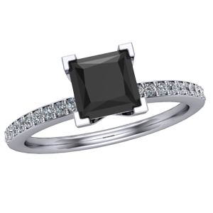 Delicate Accent Engagement Princess Ring Diamond Cut Black WEI2H9D