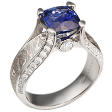 Juicy Light Engagement Ring with Blue Sapphire