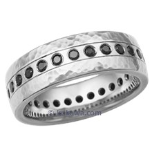 Sterling Hammered Wedding Band with Flush Black Diamonds