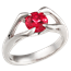 Carved Branch Engagement Ring with Lab Created Ruby
