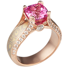 Trigold Juicy Light Engagement Ring with Pink Sapphire