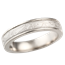 White Mokume Wedding Band with Raised Rails