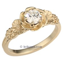 Rose Poppy Daisy Engagement Ring in Yellow Gold