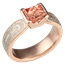 Mokume Solitaire Tapered Engagement Ring with Topaz