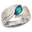 Mokume Wave Engagement Ring with Diamonds and Lab-Created Emerald