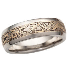 Darkened Champagne Mokume Wedding Band