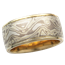 Wide Winter Mokume Wedding Band, Yellow Gold