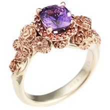 Floral Bouquet Engagement Ring with Purple Sapphire