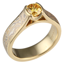Summer Mokume Cathedral Engagement Ring with Yellow Diamond