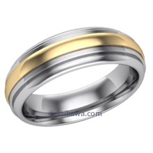 Deco Rounded Two Tone Mens Band in Yellow and White Gold