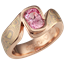 Trigold Mokume Swirl Engagement Ring with Pink Sapphire