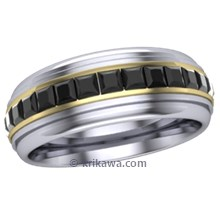 Mens Deco Diamond Wedding Ring with Black Diamonds in Two Tone