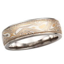 Summer Mokume Wedding Band with Raised Rails