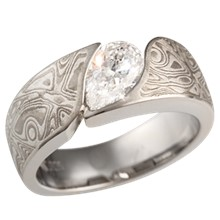 White Mokume Wave Engagement Ring with 0.9 ct Pear