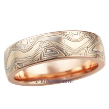High Polish Champagne Mokume Wedding Band in Rose Gold, 6mm