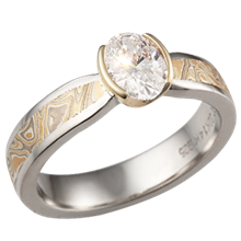 Summer Mokume Solitaire Tapered Engagement Ring with Oval Diamond