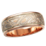 Champagne Mokume Wedding Band, Rose Gold, V Groove