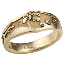 Beach Wedding Ring in Yellow Gold
