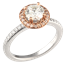 Fleur De Lis Halo Engagement Ring with Rose Gold Halo