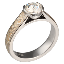 Champagne Mokume Cathedral Engagement Ring with 6.5mm Moissanite