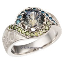Pave Swirl Mokume Engagement Ring with Blue and Green Sapphire