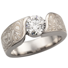 White Mokume Wave Engagement Ring with 5.8mm Diamond