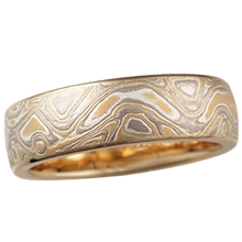 Summer Mokume Wedding Band in Yellow Gold