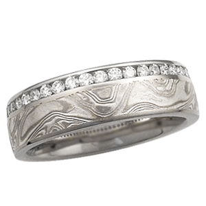 Krikawa Mokume Wedding Band with Diamond Channel