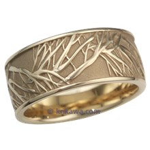 Yellow Gold Tree of Life Wedding Band, 10mm