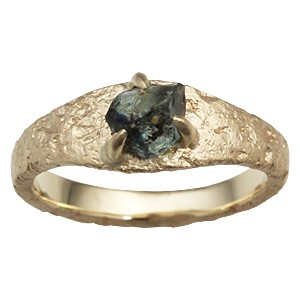 Ancient Roman Style Engagement Ring In Yellow Gold